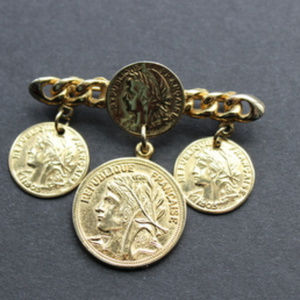 Jewelry - Republique Francaise Faux Coins Brooch Gold Tone